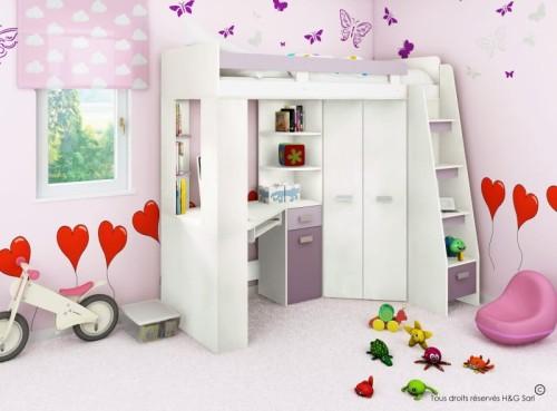 łóżko Piętrowe Antresola Prawa Kolor Białylawenda Fiolet